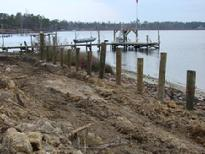 Pilings driven for seawall in North Biloxi